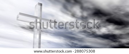 Conceptual glass cross or religion symbol silhouette on water landscape over a sunset, sunrise sky with sunlight clouds background banner for God, Christ, Christianity, religious, faith, Jesus, belief - stock photo