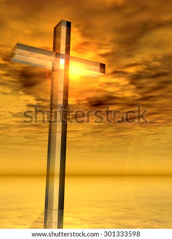 Conceptual glass cross, religion symbol silhouette on water landscape over a sunset, sunrise sky with sunlight clouds background  for religion, faith, holiday, God, religious, Jesus or belief designs - stock photo