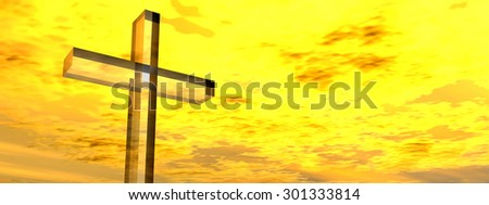 Conceptual glass cross, religion symbol silhouette on water landscape over a sunset, sunrise sky with sunlight clouds background banner for religion, faith, holiday, God religious Jesus belief designs - stock photo