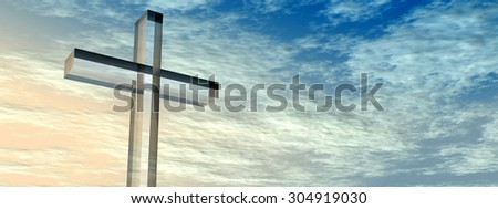 Conceptual glass cross, religion symbol silhouette on water landscape over a sunset, sunrise sky with sunlight clouds background for religion retro aged grunge faith God religious Jesus belief designs - stock photo