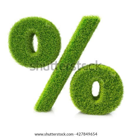 Conceptual grassed sign of percent in the design of information related to the economy. 3d illustration - stock photo