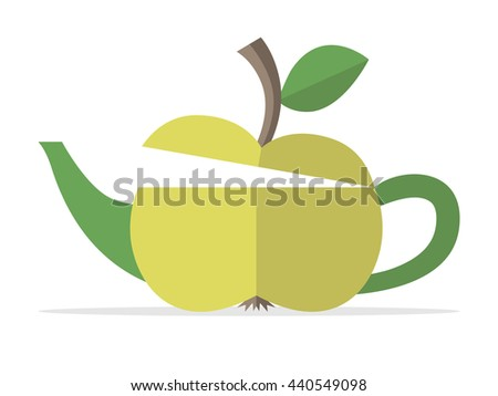 Conceptual green apple teapot. Food, fruit, beverage, drink, nature, healthy lifestyle, breakfast, freshness and fitness concept - stock photo