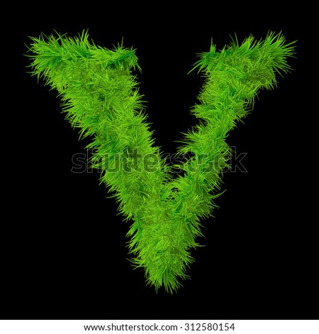 Conceptual green grass V, ecology font, part of a set, collection isolated on black background for nature, summer, spring, alphabet, ecology, environment, plant, winter, ecological conservation design