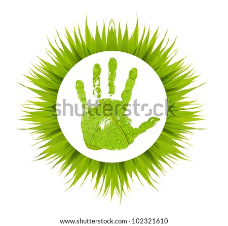 conceptual hand imprint on green leaf background in grass frame