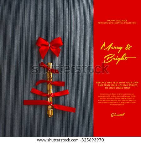 conceptual handmade christmas tree , made with wood and red ribbons - stock photo