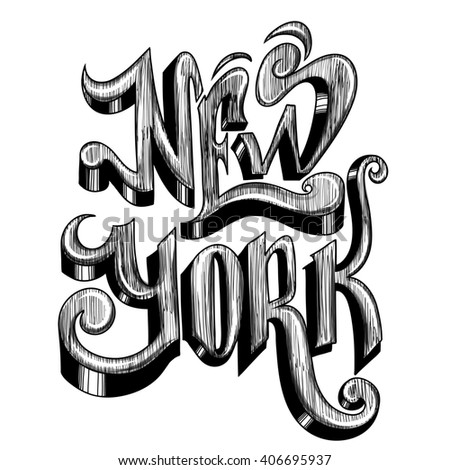 Conceptual handwritten phrase New York City on a white background.