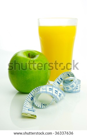 Conceptual health and diet image isolated against a white background