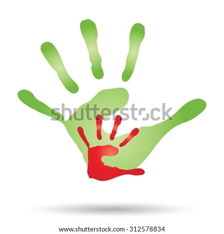 Conceptual human or mother and child hand prints painted, isolated on white background for art, care, childhood, family, fun, happy, infant, symbol, kid, little, love, mom, motherhood, young design - stock photo