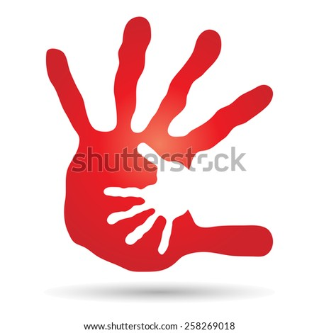 Conceptual human or mother and child hand prints painted isolated on white background for art, care, childhood, family, fun, happy, infant, symbol, kid, little, love, mom, motherhood or young