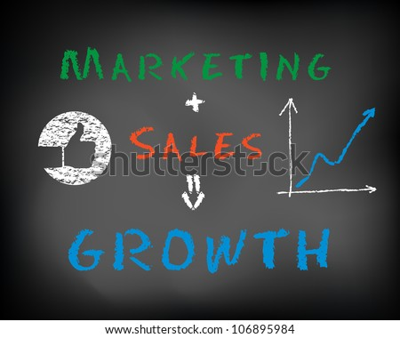 Conceptual idea business plan concept marketing, sales, growth on black chalkboard - stock photo