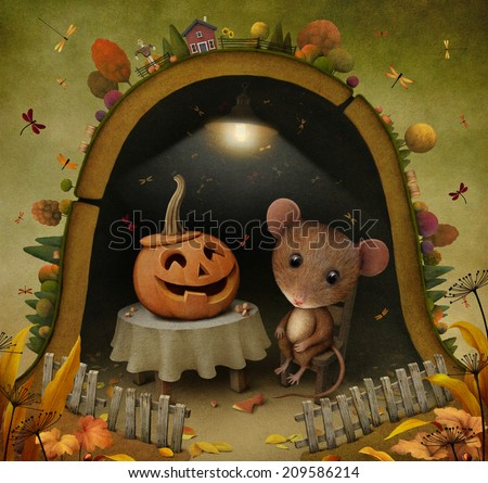 Conceptual illustration for Halloween with  mouse and  pumpkin - stock photo