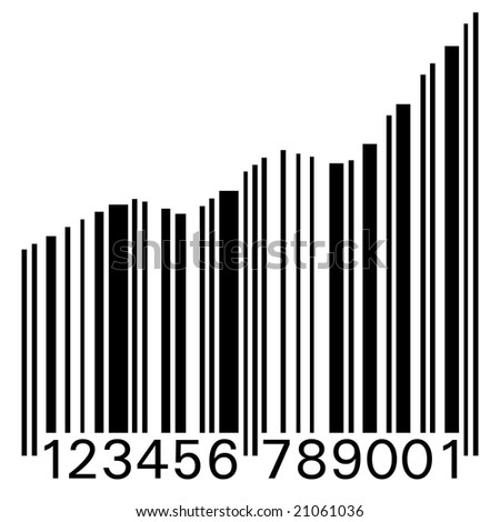 Conceptual illustration of a barcode as statistic graph - stock photo