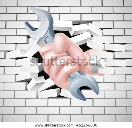 Conceptual illustration of a hand holding a spanner breaking through a white brick wall