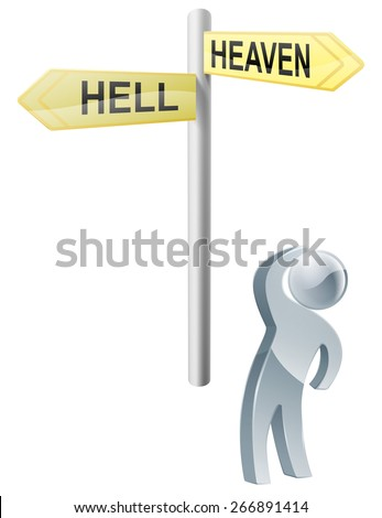 Conceptual illustration of a man looking up at a road sign post reading heaven and hell - stock photo