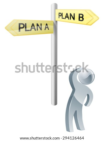 Conceptual illustration of a man looking up at a road sign post reading plan a and plan b - stock photo