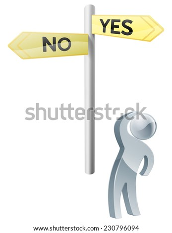 Conceptual illustration of a man looking up at a road sign post reading yes and no - stock photo