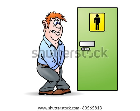 Conceptual illustration of a man need a pee waiting in front of bathroom sign. Man Urinating Stock Images  Royalty Free Images  amp  Vectors