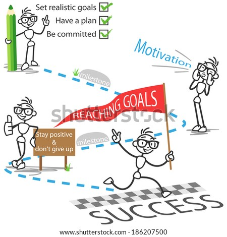 Conceptual illustration of a stick man on his path to reaching goals successfully.  - stock photo