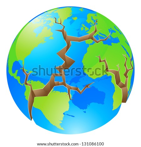 Conceptual illustration of a world crisis concept. The globe with big cracks opening up round it, could a concept for environmental problems or similar. - stock photo