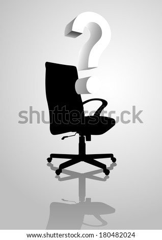 Conceptual illustration of an empty chair with question mark symbol, analogies for empty position - stock photo