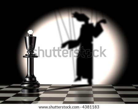 conceptual illustration of black king with puppet's shadow - stock photo