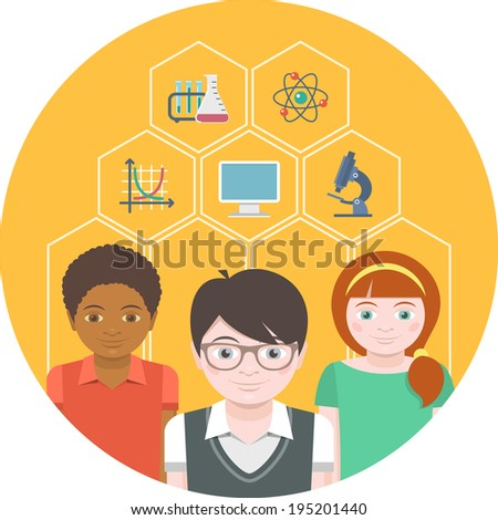 Conceptual illustration of children with different symbols of sciences - stock photo