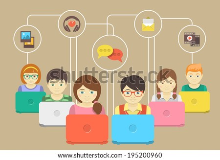 Conceptual illustration of children with laptops sharing multimedia information - stock photo