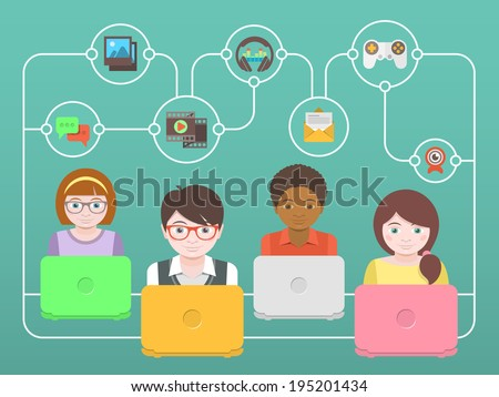 Conceptual illustration of children with laptops that share multimedia information on the Internet - stock photo