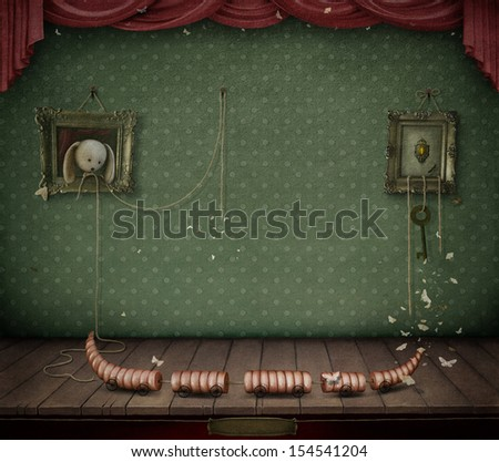 Conceptual illustration of dark room with toys.  - stock photo