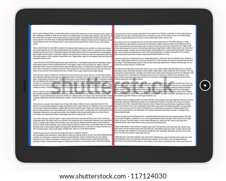 Conceptual illustration of e-books. deployed book inside the phone. Isolated on white background - stock photo