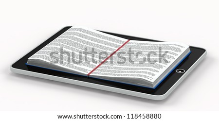 Conceptual illustration of e-books. deployed book inside the phone. isolated on white background