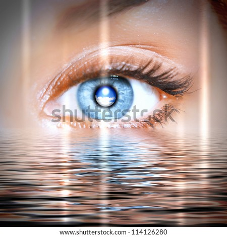 Conceptual illustration of eye overlooking water scenic - stock photo