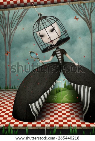 Conceptual illustration of fantastic girl locked in cage mask - stock photo