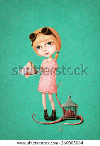 Conceptual illustration of  girl playing - stock photo