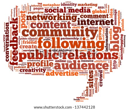 Conceptual illustration of tag cloud containing words related to public relations, social media, marketing, blogs, social networks and Internet in the shape of the callout - stock photo