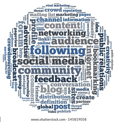 Conceptual illustration of tag cloud containing words related to public relations, social media, marketing, blogs, social networks and Internet in the shape of the circle. - stock photo