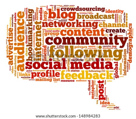 Conceptual illustration of tag cloud containing words related to social media, marketing, blogs, social networks and Internet in the shape of the callout, pointing right. Vector also available.
