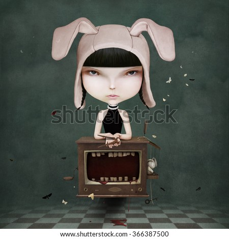Conceptual illustration or  poster of  girl and TV - stock photo