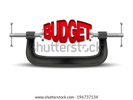 Conceptual illustration symbol of budget being squeezed in a vice. - stock photo