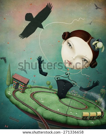 Conceptual illustration unreal fantasy with the girl and train - stock photo