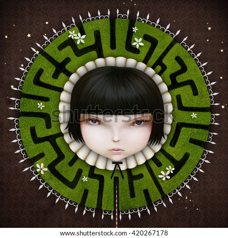 Conceptual  illustration with girl with  fantasy collar green maze - stock photo