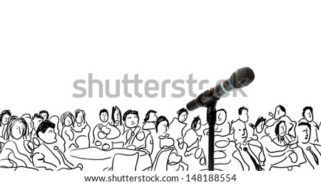 Conceptual illustration with microphone and hand drawn people - stock photo