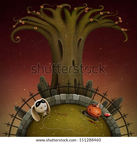 Conceptual illustration with pumpkin, halloween.  - stock photo