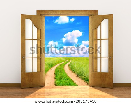 Conceptual image - a way to freedom - stock photo