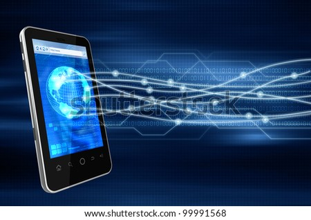 Conceptual image about how a smartphone wireless connection technology connects  to other source of communication worldwide. - stock photo