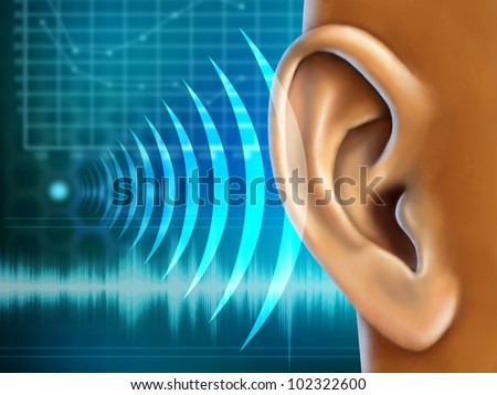 Conceptual image about human earing test. Digital illustration. - stock photo
