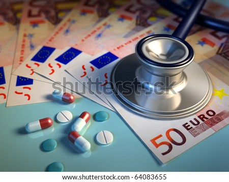 Conceptual image about money involved in the pharma industry. Digital illustration. - stock photo