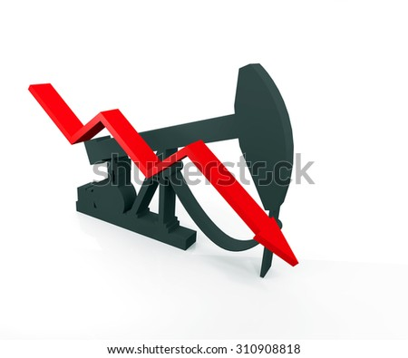 Conceptual image about the fall in oil production - stock photo