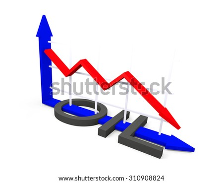 Conceptual image about the fall of oil prices - stock photo