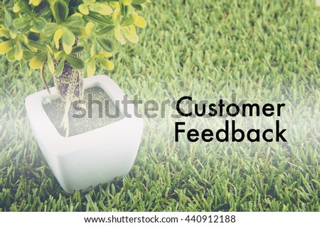 """Conceptual image,customer service and support with word """"CUSTOMER FEEDBACK""""  over green artificial grass and small tree on white pot.  - stock photo"""